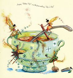 Tea Faeries Time for a break, every hour on the hour a 10 min. break, we are Union Faeries! Fairy Dust, Fairy Land, Fairy Tales, Illustration Noel, Illustrations, Fantasy World, Fantasy Art, Bisous Gif, Elfen Fantasy