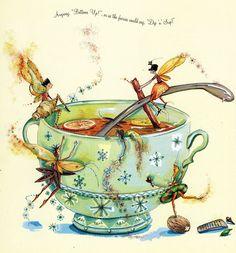 Tea Faeries Time for a break, every hour on the hour a 10 min. break, we are Union Faeries! Fairy Dust, Fairy Land, Fairy Tales, Elfen Fantasy, Fantasy Art, Illustrations Vintage, Illustration Noel, Love Fairy, Tea Art