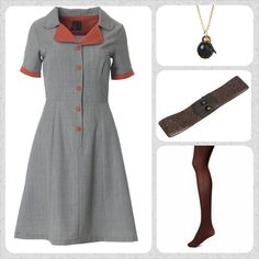 Yes, this beauty is yet again available on our web-shop! Put on this grey Loretta dress and style it with Bordeaux stockings, a glitter Waist belt and a nice little necklace with a crystal pendant.