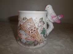 Antique Transferware Mug With Pink Lustreware Bird Whistle On Handle Rare Alter Ego, Have Some Fun, Vintage Home Decor, Pottery Art, Handle, Bird, Mugs, Antiques, Tableware