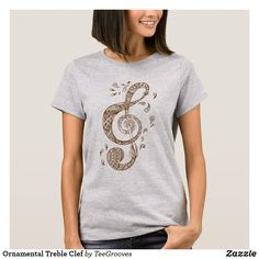 Shop Ornamental Treble Clef T-Shirt created by TeeGrooves. Treble Clef, Cheap Fashion, Wardrobe Staples, Celtic, Fitness Models, T Shirts For Women, Casual, Cotton, How To Wear