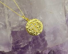 Minimalist Circle Cross Pendant, with Cubic Zirconia pave, in 925 Silver, Shiny Gold Vermeil, Hammered Texture, Gold Chain, 14 MM Disc