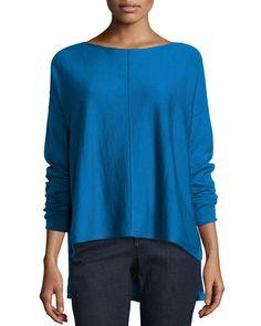 TDFF9 Eileen Fisher Long-Sleeve Merino Boxy Sweater