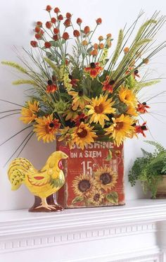 Flower Arrangements and Rooster Accents Creating Bold, Jazzy Table Centerpieces Fall Flower Arrangements, Silk Arrangements, Vibeke Design, Sunflower Kitchen, Decor Scandinavian, Rooster Decor, Fall Mantel Decorations, Mantel Ideas, Mantelpiece Decor