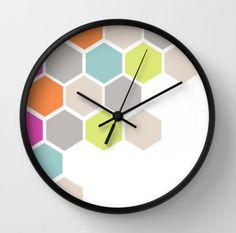 Hexagons Beehive Wall Clock - Pastel Hexagons Beehive Retro Wall Clock - Choose Your Colors - Original Design - Home decor by Adidit Honeycomb Wallpaper, Diy Clock, Clock Ideas, Clock Decor, Flower Art Drawing, Unusual Clocks, Clock Painting, Wall Clock Design, Fancy Houses
