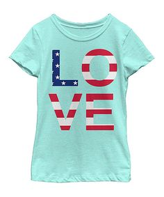 Look at this Fifth Sun Mint 'LOVE' Flag Fitted Tee - Toddler & Girls on #zulily today!