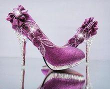 Outono e inverno sapatos femininos rito diamante branco sapatos de dama de honra em de salto alto fino com sapatos de casamento vermelho grandes tamanho(China (Mainland))