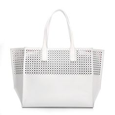 Emilie M. La Mar Perforated Beach Tote Blue (Leather) ($55) ❤ liked on Polyvore featuring bags, handbags, tote bags, blue, white tote bag, white leather purse, white tote, leather purse and blue leather tote bag