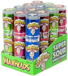 Warheads Super Sour Spray Candy Watermelon Cherry Green Apple Blue Raspberry Variety Pack 0.68 Ounce Bottles (Pack of 12) Impact Confections http://www.amazon.com/dp/B003Z3QO5E/ref=cm_sw_r_pi_dp_J5tXtb17W1ZEQBBP