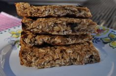 Peanut Butter Granola Bars (no added sugar) Sweetened with maple syrup. (will make with dark unsweetened chocolate chips)