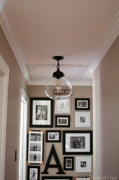 Little house of four: new hallway light update hallway ceiling lights, hallway light fixtures Hallway Ceiling Lights, Hallway Light Fixtures, Farmhouse Light Fixtures, Kitchen Lighting Fixtures, Farmhouse Lighting, Room Lights, Ceiling Fixtures, Farmhouse Decor, Hall Lighting