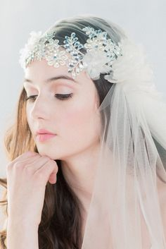 Crystal Juliet Veil Lace Juliet Veil by BlairNadeauMillinery
