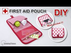 DIY FIRST AID POUCH | Multi Pouch with Face Mask Pocket Tutorial [sewingtimes] - YouTube Sewing Tutorials, Sewing Projects, Tutorial Sewing, Diy Mask, First Aid, Lining Fabric, Textiles, Pouch, Diy Crafts