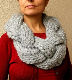 Items similar to Oversized Knit Scarf   Infinity Scarf   Braided Scarf    Grey   Gray   Hand Knitted Chunky Scarf on Etsy caa9e291f31