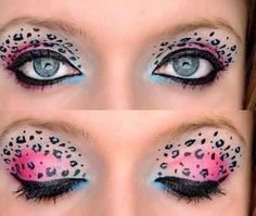 animal eye makeup with blue | Pink and blue leopard print eye makeup