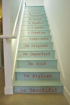 Beautiful Painted Staircase Ideas for Your Home Design Inspiration. see more ideas: staircase light, painted staircase ideas, lighting stairways ideas, led loght for stairways. Escalier Design, Modern Stairs, Painted Stairs, Creative Home, Creative Decor, Stairways, Sweet Home, Indoor, House Design