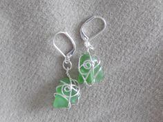 Sea glass earrings - nickel free, 925 silver plated hooks Glass Earrings, Glass Beads, Drop Earrings, Sea Glass, 925 Silver, Hooks, Silver Plate, Crystals, Free
