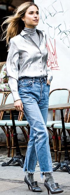 Look De Pernille Silver Shirt Fall Street Style Inspo by A Love Is Blind