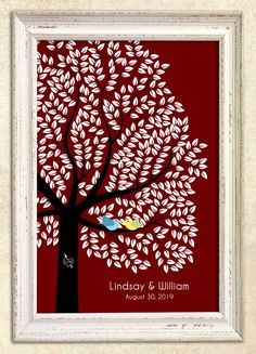 300 Plus guests signature GUEST TREE, Unique Wedding Guest Book, An Interactive Art Print - 391 guest sign in 20x30, Sugar Vine Art, num.129