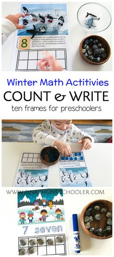 Winter Ten Frame printable activities: use for correspondence, tracing and use of own manipulatives for free play Snow Activities, Counting Activities, Montessori Activities, Kindergarten Activities, Preschool Activities, Winter Crafts For Toddlers, Winter Activities For Kids, Math For Kids, Fun Math