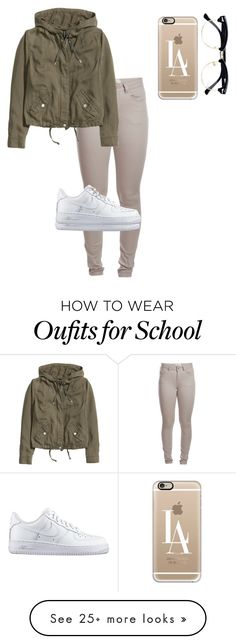 """""""School """" by gabby003 on Polyvore featuring Pieces, H&M, NIKE, Casetify and Topman"""