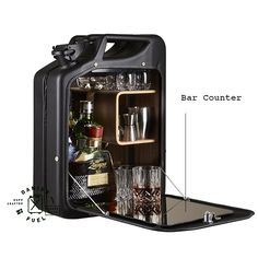 Jerry Can as Bar. Locks! Great for the manager's office in a mechanic's garage.