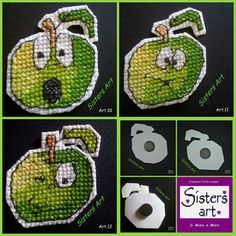"Calamite ""Mela verde"" ricamate a punto croce (art.10 - 11 - 12), by Sisters Art, in vendita su http://www.misshobby.com/it/negozi/sisters-art"