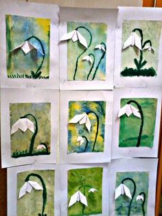 We create with children ☺: Snowdrops - Spring Crafts For Kids Classroom Art Projects, Art Classroom, Spring Crafts For Kids, Diy Crafts For Kids, Spring Activities, Art Activities, Art N Craft, Spring Art, Art Lessons Elementary
