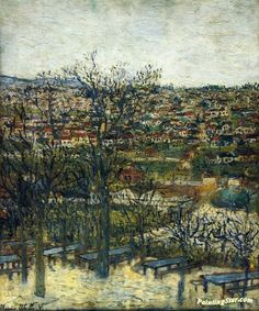 Benches at Montmagny (Val-d'Oise) Artwork by Maurice Utrillo Hand-painted and Art Prints on canvas for sale,you can custom the size and frame