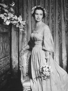 Gloria Vanderbilt Posing in 1830 Beige Wedding Gown of French Linen After Exchanging Vows Premium Photographic Print