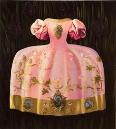 Maryrose Crook ''The surfaces of Maryrose Crook's seven luminous oil canvases alternate between an inky blackness and flashes of brilli. Paper Dress Art, Paper Dresses, Pink Fashion, Fashion Art, Detailed Paintings, Pink Cadillac, Creative Textiles, Autumn Painting, Altered Couture