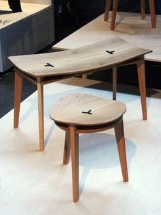 TRIZIN stool. Legs are wedged between the two surface layers. Click through for a great making-of video.