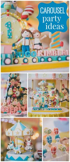 Here's a delightful carousel party in pastels! See more party ideas at CatchMyParty.com!