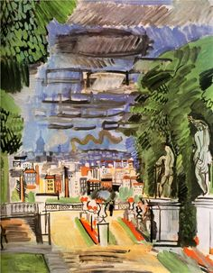 "'The Park of Saint-Cloud' (1919) by French artist Raoul Dufy (1877-1953). Oil on canvas, 72 x 60 cm. collection: Musée des Beaux-Arts, Grenoble, France. Also featured in ""An American in Paris"" (1951) starring Gene Kelly and Leslie Caron. via WikiArt"