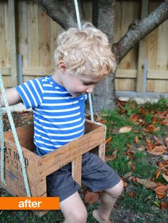 diy swing set plans for kids and baby Old Wooden Crates, Wooden Diy, Wooden Boxes, Wooden Baby Swing, Swing Set Plans, Diy Swing, Hanging Swing Chair, Backyard Playground, Duck Egg Blue