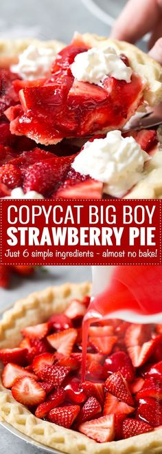Copycat Frisch's Big Boy Strawberry Pie This fresh strawberry pie tastes just like the pies from Frisch's Big Boy or Shoney's. It's easy to make, uses just 6 simple ingredients, and a frozen pie crust, for the easiest, tastiest strawberry pie ever! Tart Recipes, Sweet Recipes, Cooking Recipes, Easy Pie Recipes, Cooking Cake, Simple Recipes, Slow Cooking, Spicy Recipes, Kitchen Recipes