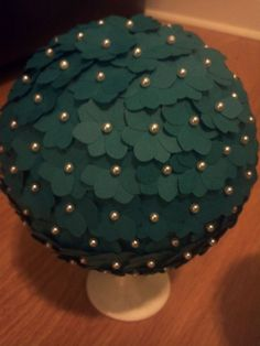 Flower balls to hang by the bar. :  wedding flower balls pins paper paper punch martha decorations teal bridesmaids diy reception IMG759