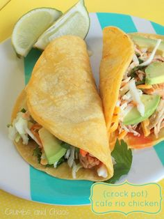 {Crock Pot} Cafe Rio Chicken | Crumbs and Chaos #slowcooker #chicken #tacos   www.crumbsandchaos.net