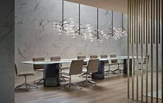 pale blonde wood and marble conference room