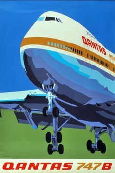 Vintage Travel Posters Features - A Colorful Qantas Airlines Poster - See Airline Logo, Airline Travel, Travel Plane, Air Travel, Beach Travel, Travel Luggage, Australian Vintage, Air Festival, Vintage Airplanes