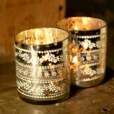Tealight Holders, Sparkling Tealight Holders, Silver, Glass | LittleTrove.com