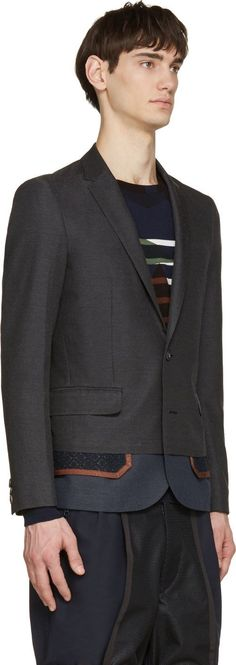 Kolor Charcoal Exposed Pocket Blazer
