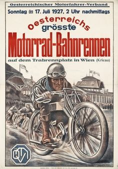 Motorcycle Racing 1927 Austria - original vintage poster by Hubert von Zwickle listed on AntikBar.co.uk