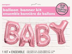 Pink Baby Letter Foil Balloon Baby Shower Party Decoration Banner Bunting 35.5cm