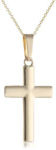 "14k Yellow Gold Cross Pendant Necklace, 18"" | jewelry girls shop online"