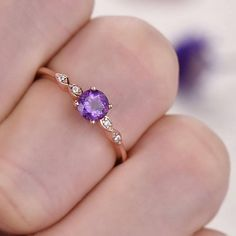 Amethyst engagement ring antique Diamond February birthstone 14k 18k rose gold solid wedding ring 5mm round amethyst fine jewelry - BBBGEM