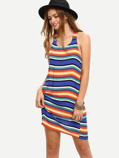 Vestido rayas sin manga holgado -multicolor