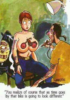 Biker Tattoo. Cómics caricaturas Humor bikers Harley Davidson México Motorcycle…
