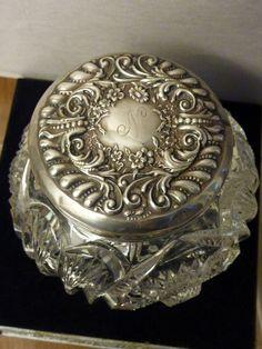 ANTIQUE CUT & PRESSED GLASS DRESSER POWDER JAR STERLING SILVER SCROLL & FLOWERS