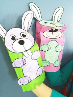 Here's what our Easter bunny puppet cut-out  looks like when he's all complete! We were loving the spring colors - who says your Easter bunny can't be purple or green?!